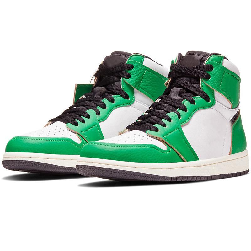 2020 مصمم جديد WMNS Jumpman العليا 1 1S OG النساء أحذية كرة السلة لاكي أخضر أبيض للرجال المدرب الرياضة احذية DB4612-300 مع صندوق