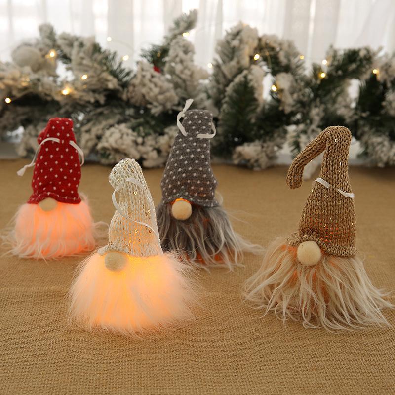 Resplandor de la decoración de Navidad linda Pequeña resplandor Enano de Santa Claus muñeca del árbol de navidad colgante decoración casera creativa de la muñeca colgante