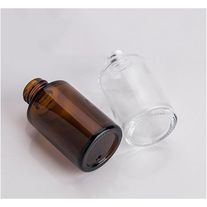 Bottiglia di vetro a 30 ml di vetro tracolla smerigliata / trasparente / vetro ambra rotondo bottiglia di siero di petrolio essenziale con vetro Dropp Jlltlk Sport77777