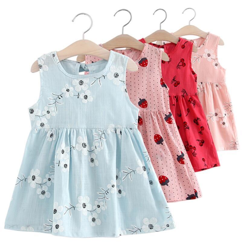 Children Dresses Kids Girl Sleeveless Flower Print Cotton and Linen floral Dress Baby Girls Spring Summer Clothing