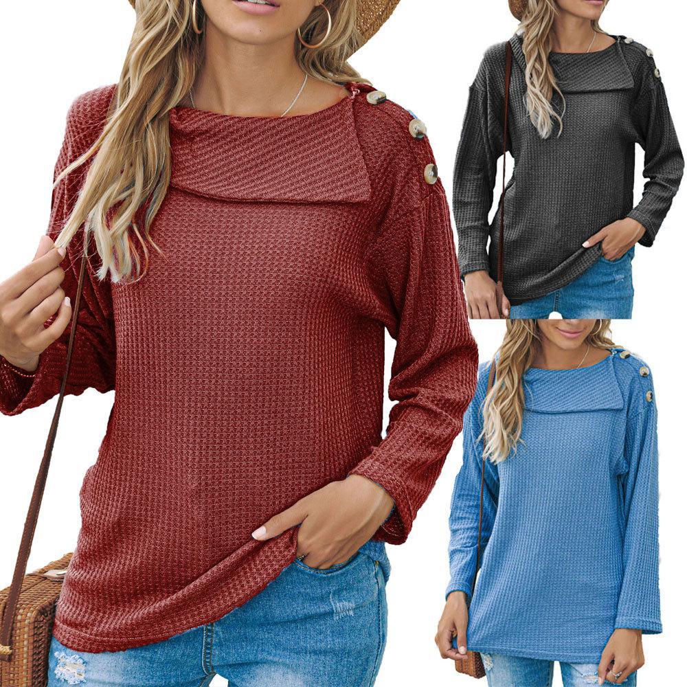 3Colour S-2XL 여성의 가을과 겨울 여성 의류, 어깨 버튼 패션 스웨터 티셔츠 긴 소매 탑 29630105627785