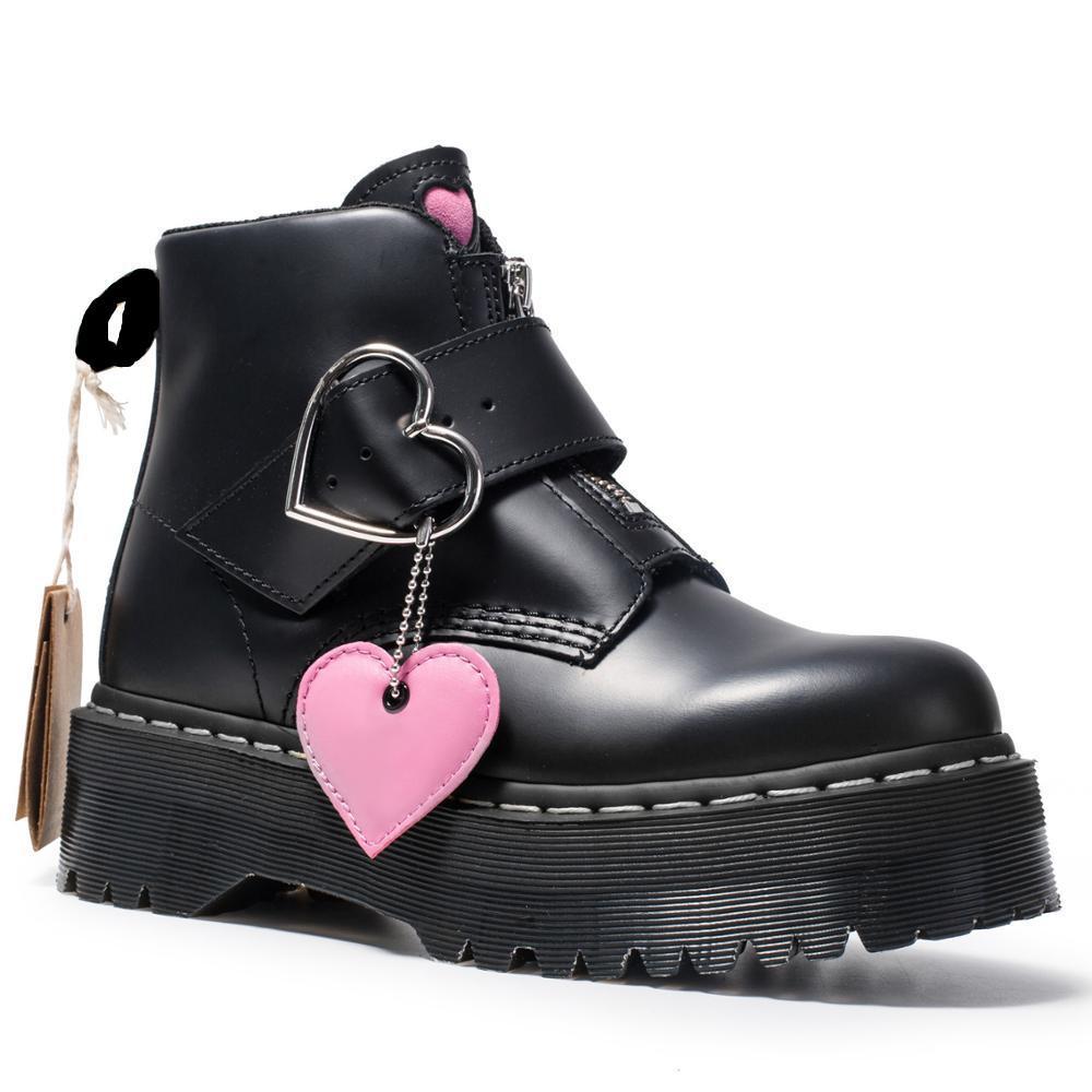 Bottes de moto Chunky de haute qualité pour femmes Automne 2022 Mode Toe Toe Bottes de Combat Bottes de Combat Dames Chaussures Taille 34-41