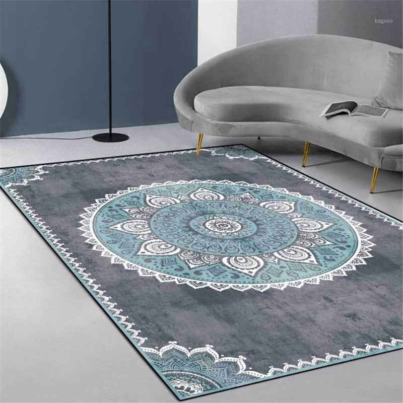 Grau Blue Mandala Teppich Vintage Europa Einfache Schlafzimmer Nachttisch Teppich Nordic Ethnische Stil Flur Küchenteppich MAT1