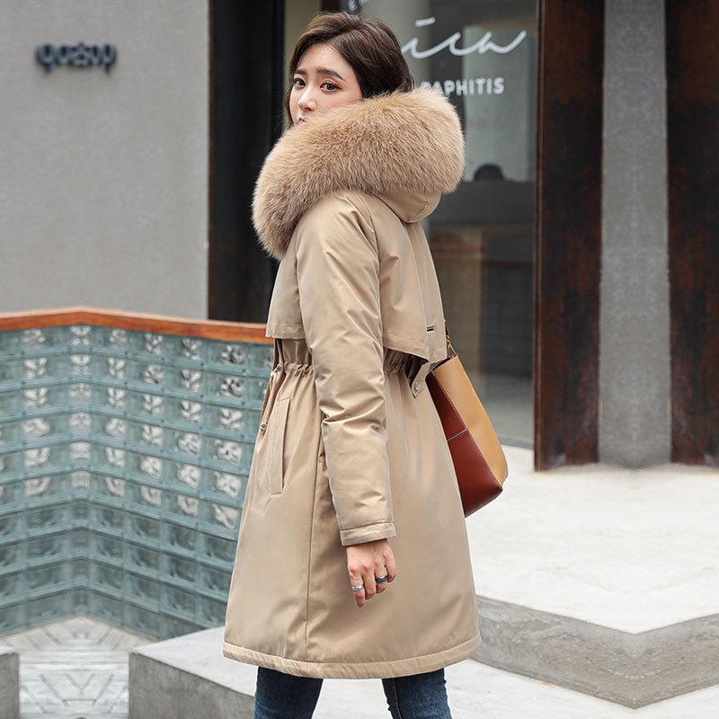 Fashion Solid Cotton Liner Parker Autumn Winter Jacket Women Drawstring Slim Medium Long Down Parka Hooded Fur Coat Female 201007