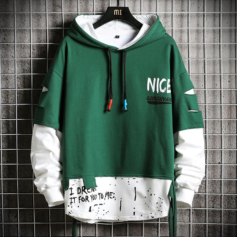 Surdimensionnée Ripped Patchwork Sweats Homme Nouveau Hip Hop Streetwear à capuche pour hommes Harajuku Sweat à capuche Mode Hommes Hauts 201020