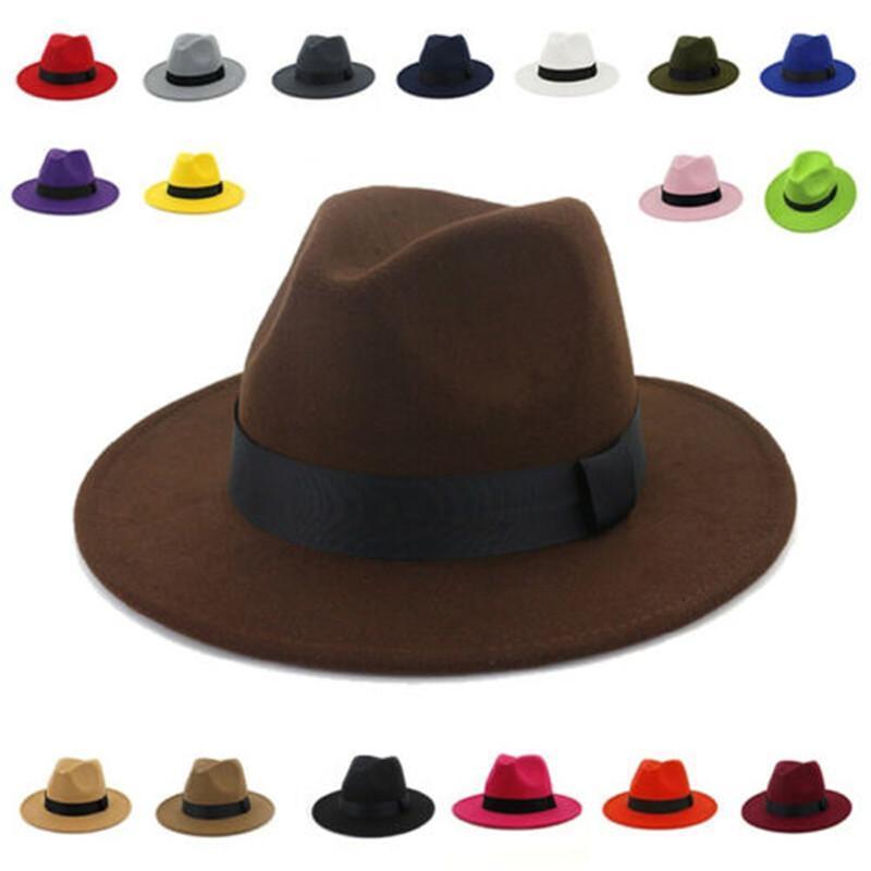 Couleur solide respirant classique Black Fedora chapeau de fedora de laine unisexe feutre de jazz chapeaux élégants hommes femmes large bord panama trilby casquette