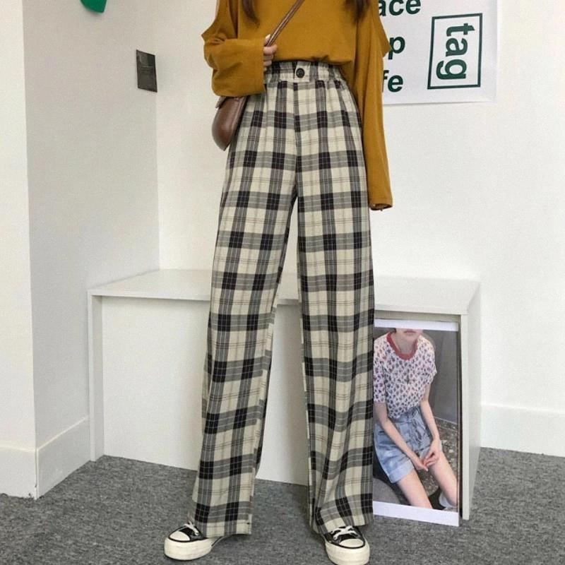 Plaid Pants Women Straight Checked Trousers Korean Style Plaid Trousers Straight Wide Leg Suit Pants for Women Vintage #LC6h