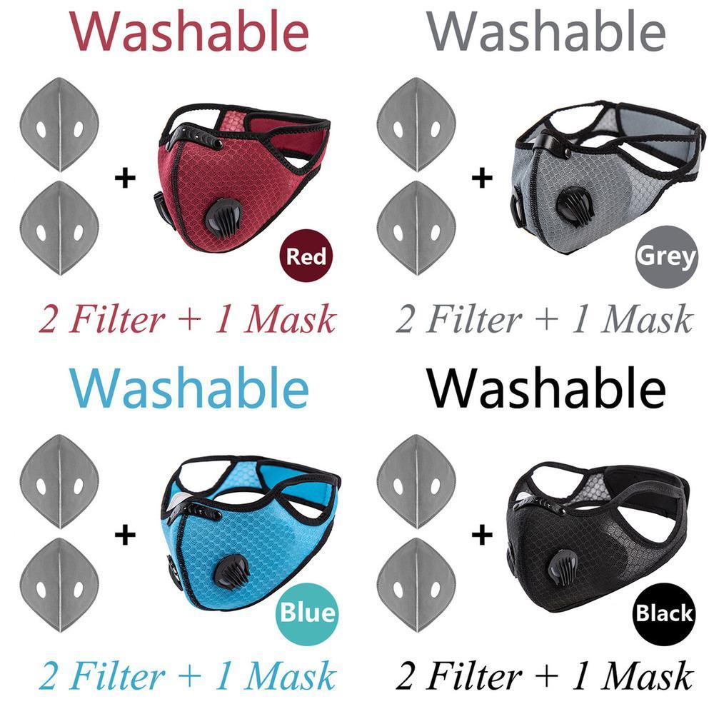 Fashion Air 5 pcs Unisexe Fast Valcling Face Mask Ship! Vanne à double expiration activée avec PM 2.5 Filtre anti-brouillard réutilisable MOX9