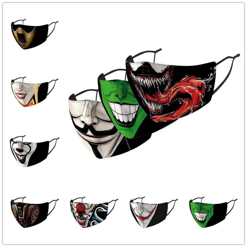Клоун 18 Цветов PM2.5 Маска для лица Эластичные Смешные крючки Женщины Мужчины Многоразовые Фильтр Ушные Маски Международные С Faceegase Bag Спортивное Daily Используйте F10 Fess