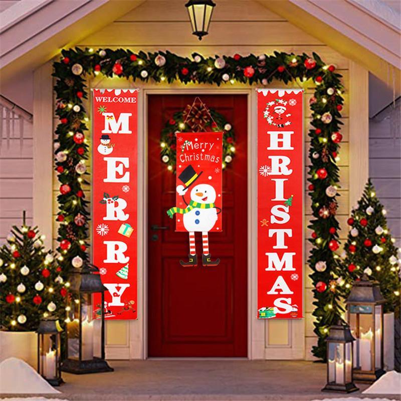 Frohe Weihnachten Dekorationen für Haus 2020 Ornamente Garland Neujahr Noel Porch Zeichen Weihnachten Türdekor Hängen Stoff navidad Geschenke