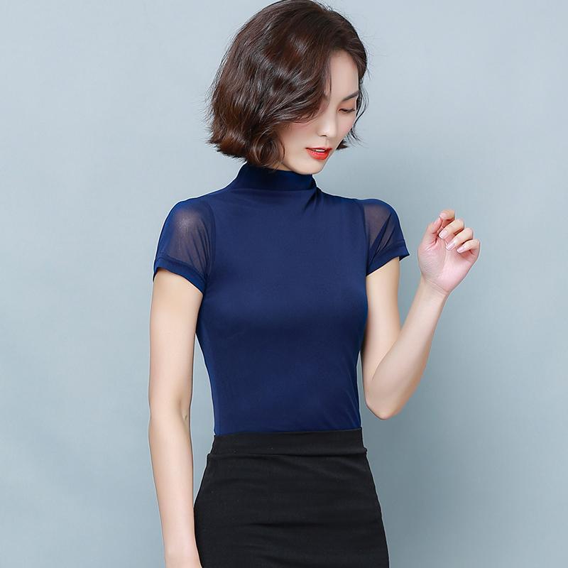 2020 Camicia da donna Plus Size 3XL Estate Tunica da donna Tuniche da donna Coreano Blusas casual Blusas TurtleNECK Sexy Blusa Sexy Camicie Solid Camicie Solid
