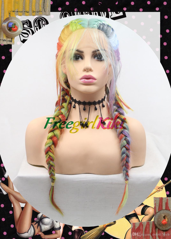 Fashion Multicolor colorato fishbone di pesce treccia intera parrucca grande treccia sintetica parrucca frontale in pizzo per cosplay e persone di moda