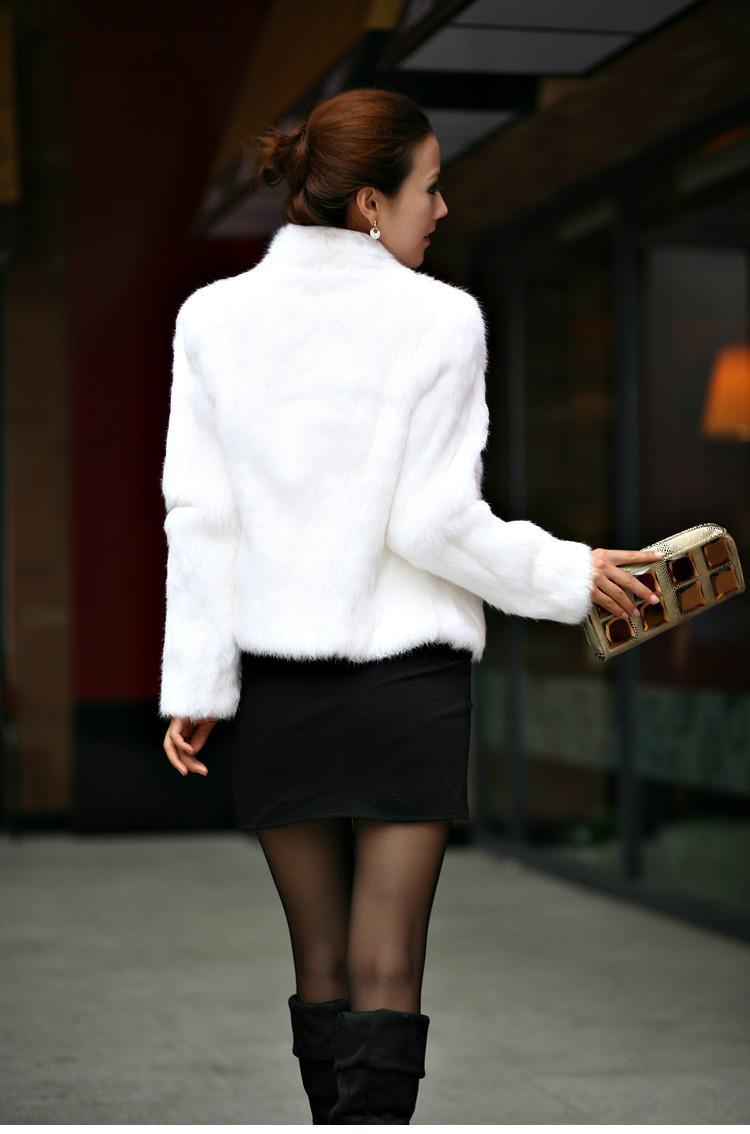 Nueva capa de piel de conejo genuino Mujeres Pelot Conejo completo chaqueta de piel de invierno chaleco de piel de invierno Cuello de soporte de tamaño grande personalizado WFP267 201207