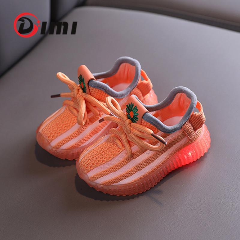 Dimi baby light up shoes traspirante maglieria bambino bambino scarpe antiscivolo trasparente morbido fondo infantile sneakers per ragazza ragazzo 201026