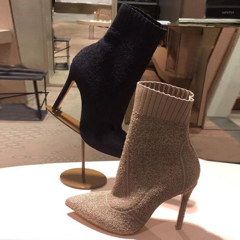 INS STILE STILE POINTY TOE Stivali Stivali a maglia Stretch Tacchi alti Stivali da donna 2020 Brand Fashion Cascino per le donne Scarpe invernali1