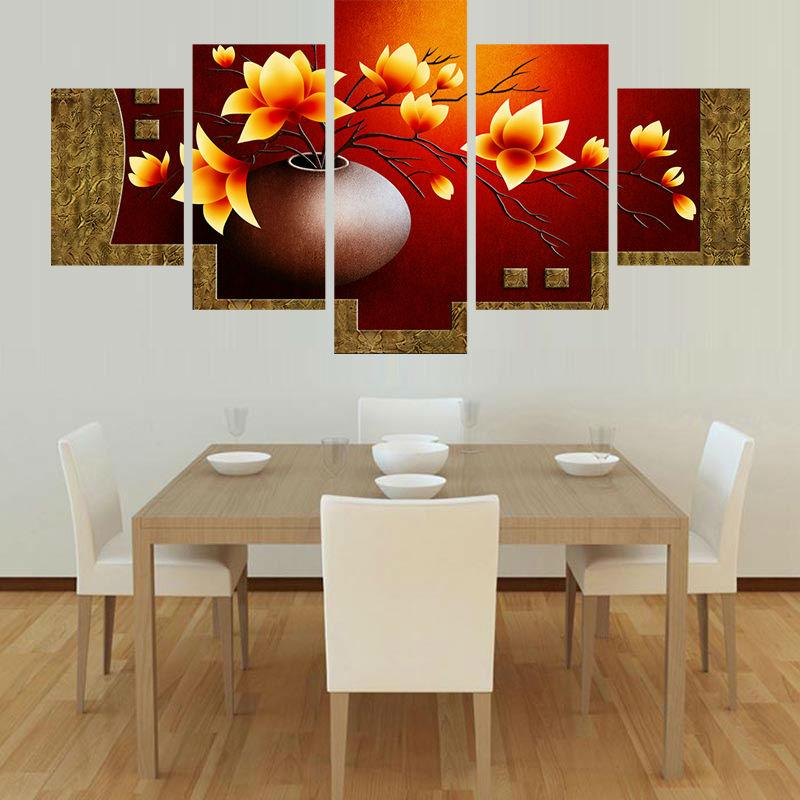 Modern Canvas Painting Frame Art Poster Wall 5 Panel Flower Modular Picture Home Decoration Print On Canvas For Living Room