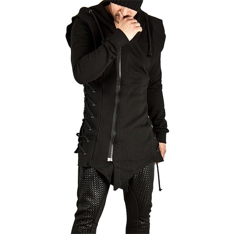 Черный Длинный толстовка Новая мода повязка на молнии Мужские толстовки толстовки кофты Hip Hop Streetwear вскользь с капюшоном пуловер мужчины XXL Y201123