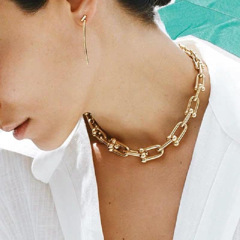 Nuevo collar de HIPHOP Vintage Chokers de cadena de metal Collares para mujer U Forma Cadena Collar Punk Jewelry Gótico Colliers