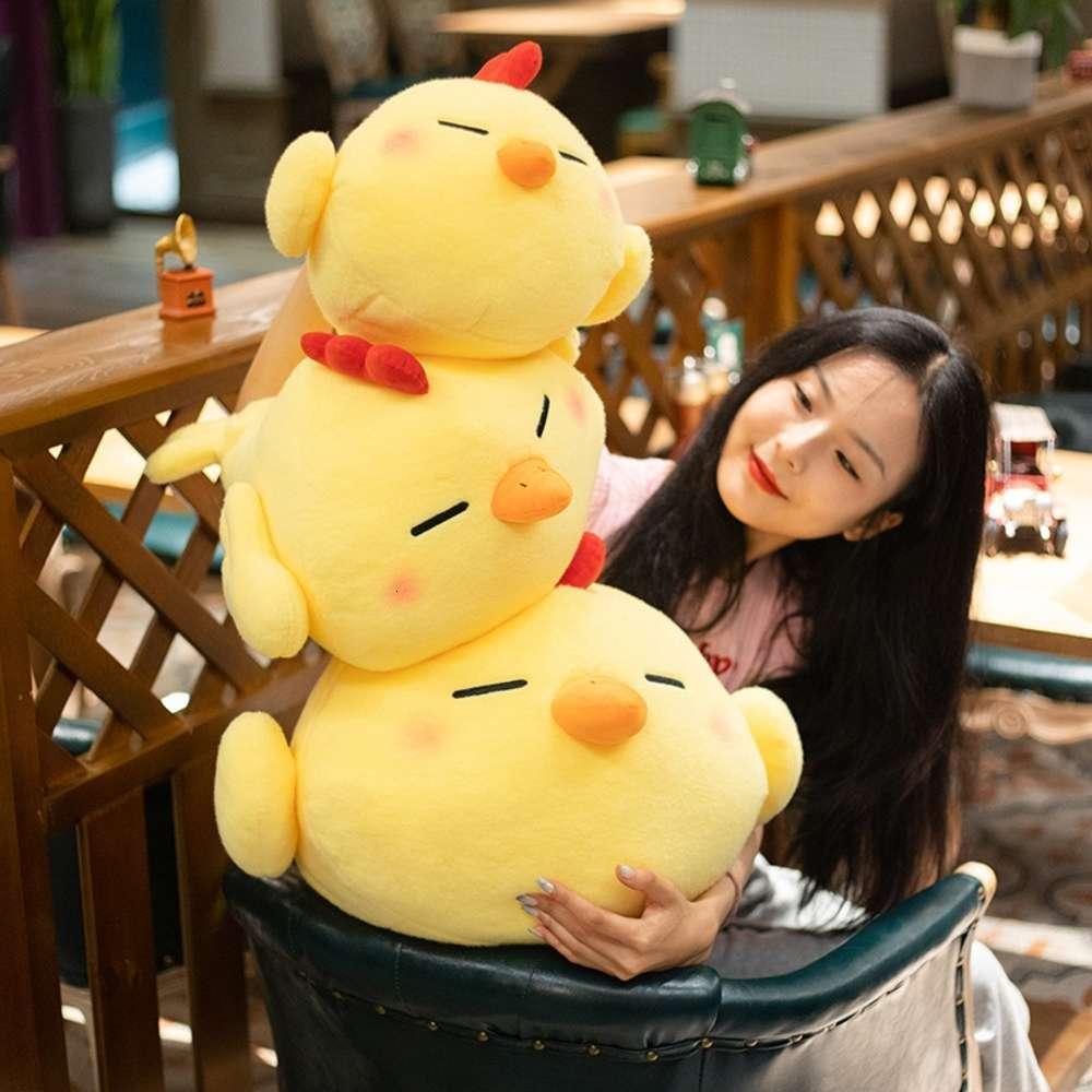 simulación neta rojo animal lindo cole pato paño muñeca niña regalo pequeño amarillo pollo algodón peluche juguete