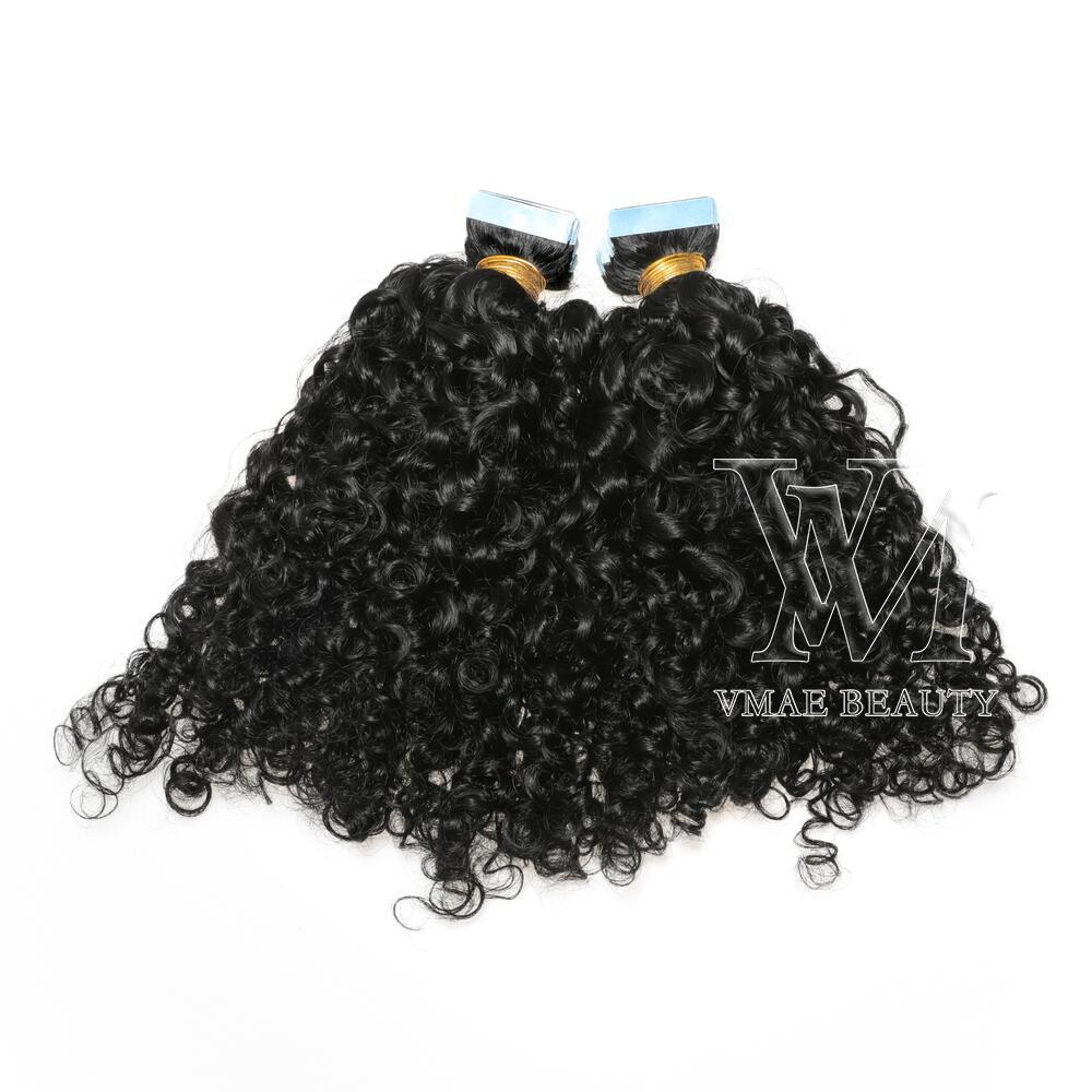 VMAE 11A 테이프 INS 인간의 머리카락 확장 몽골 큐티클 정렬 VRIGIN 자연 블랙 100g 2.5g / 조각 AFRO Kinky 곱슬