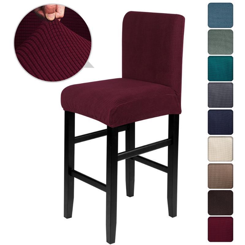Katı Jakarlı Sandalye Kapakları Spandex Bar Dışkı Koltuk Sandalye Kapakları Koruyucu Koltuk Slipcovers Kapakları Kirli Çıkarılabilir Forhotel Ziyafet