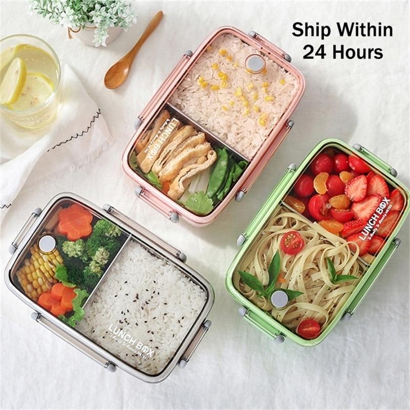 Material Saudável Portátil Lancheira Independente Lattice para Kids Bento Box Microondas Louça de Armazenamento de Alimentos Recipiente Foodbox 201210