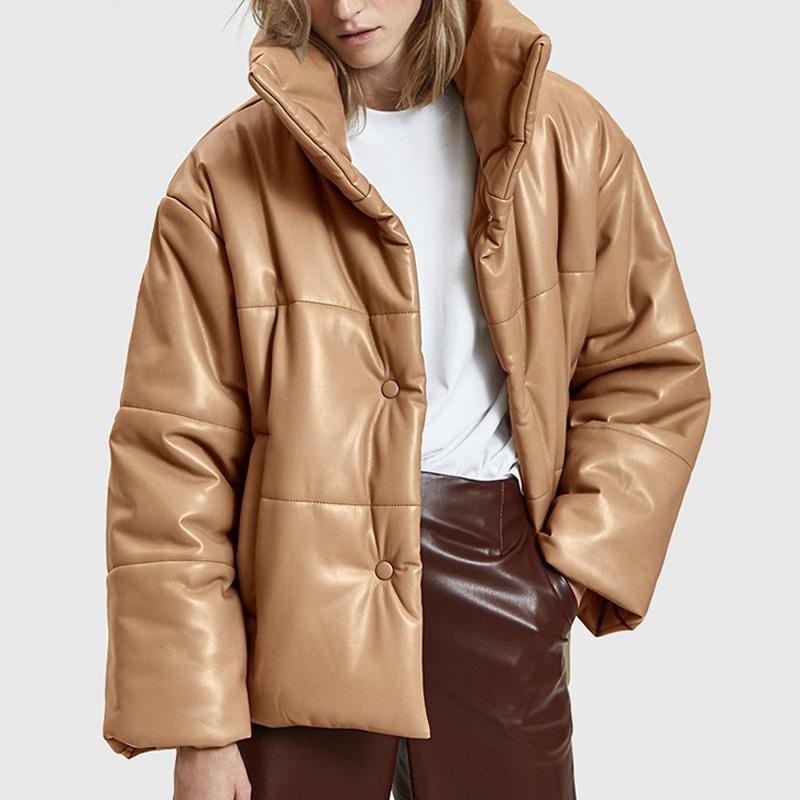 PU Leather Parkas Mulheres Brasão Jacket Moda alta imitação de couro Coats mulheres elegantes grossos casacos de algodão Luxo Feminino Outfit 200930