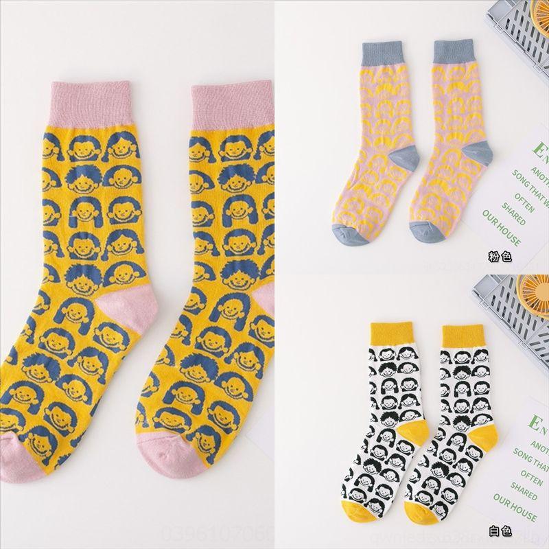 bNqi combed cotton novelty man black fancy sock Autumn and Winter superfly socks new stripes Japanese creative pattern socks funny man