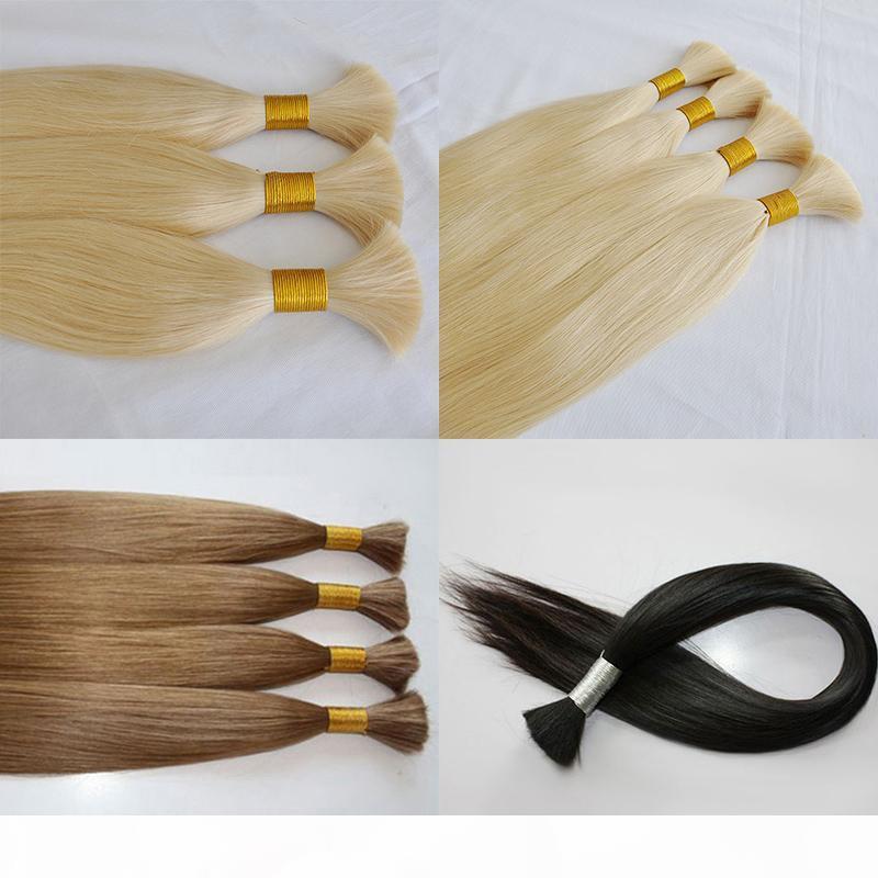 Nova chegada de seda onda reta cabelo humano sem trama 100% cor branca loira crua 613 # 60 # cabelo brasileiro a granel para trança