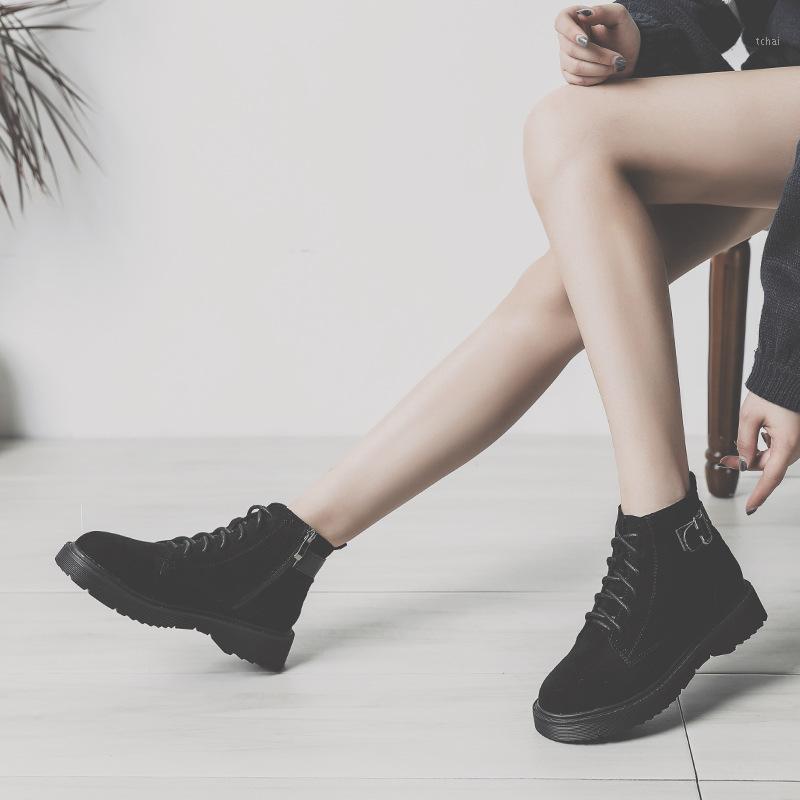 Knöchel Runde Zehe med Frauen Stiefel Mode Massive Punk Motorrad Stiefel Casual Lace Up Shoes1
