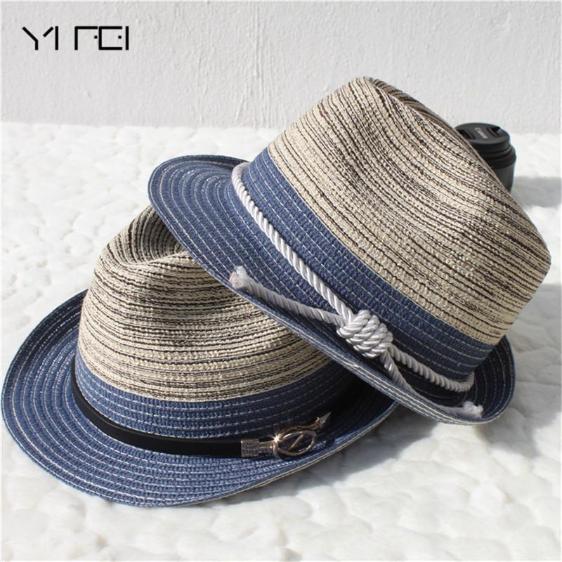 Klasyczny Twist Liny Hasła Panama Hat Jazz Hat Beach Dla Kobiet Mężczyzn Chapeau de Paille Mężczyzna Kobieta Gradient Kolor Słomy Jazz Kapelusz 201028