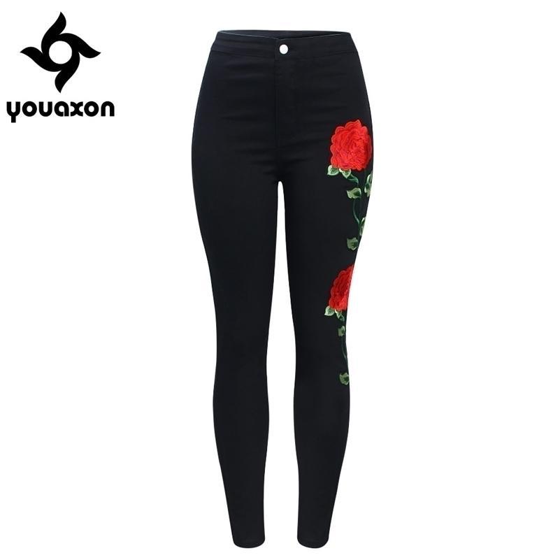 2118 YouAxon Neue Hohe Taille Black Stickerei Jeans ohne gerippte Frau Mode Floral Denim Hosen Hosen für Frauen Jeans 201031