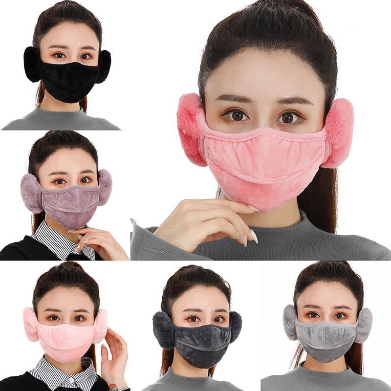 2 sur 1 masque de visage de soupape avec cache-oreilles en peluche hiver chauds masques de bouche à oreille oreille-molfs masque à vélo d'extérieur peut être filtres