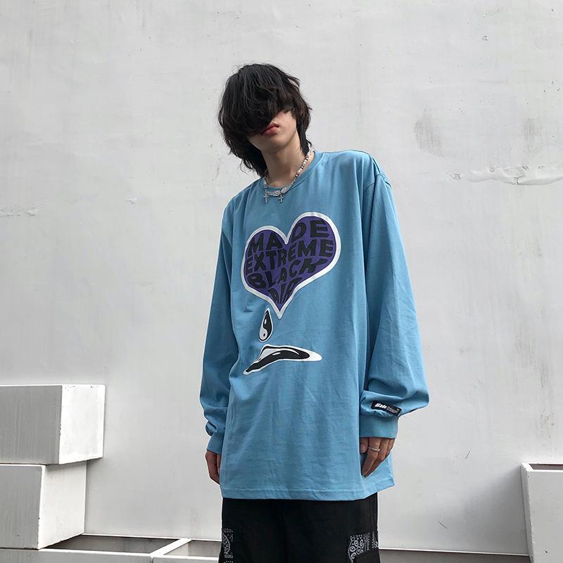 tienda de la calle de sentido del diseño de impresión de manga larga Weilang amantes de los mejores nichos de complementos de marca de moda hip hop camiseta de los hombres de la moda