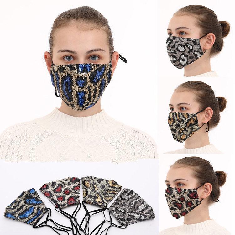 الولايات المتحدة الأسهم الأزياء بلينغ بلينغ ليوبارد الترتر قناع الوجه أقنعة الفم الغبار مصمم قابل للغسل قابلة لإعادة الاستخدام النساء قناع الوجه FY9240