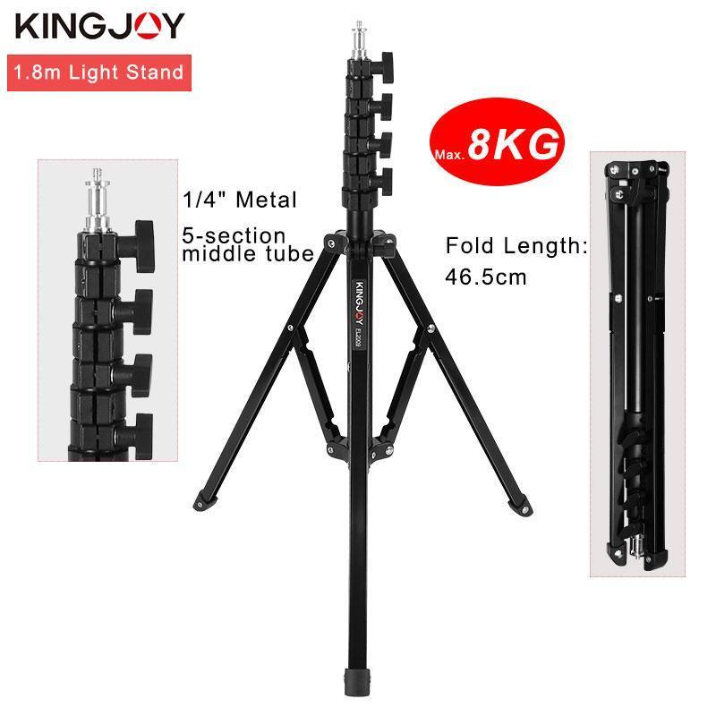 KINGJOY 1.8m Pieds de trépied Charge max 8 kg pour Photo Studio Fresnel Station de Tungstène TV Studio Trépieds photo