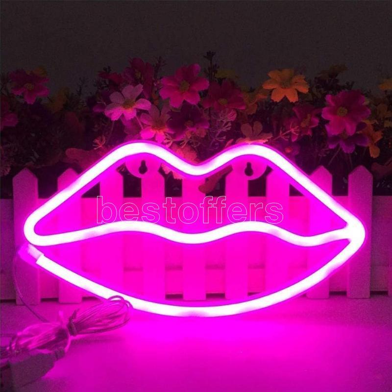 Decorative light neon lip sign LED night lights bedroom decoration birthday wedding party house wall decor valentines day gifts FY4439s