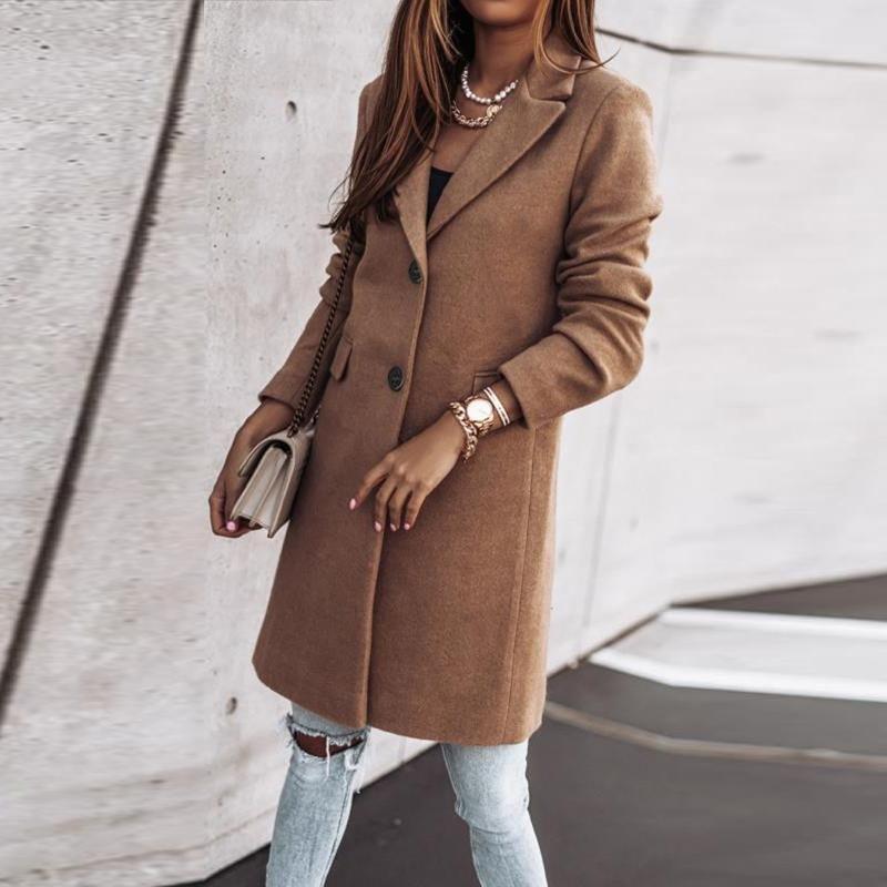 여성용 양모 블렌드 2021 우아한 패션 여성 롱 코트 싱글 브레스트 디자인 슬리브 솔리드 컬러 턴 다운 칼라 따뜻한 카디건 탑