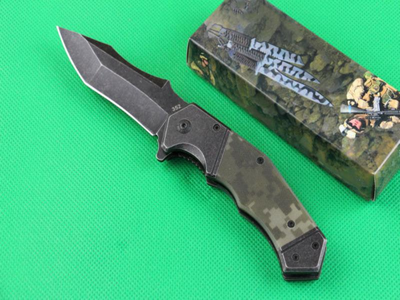 Najwyższej jakości 352 Wspomagany Szybki Otwarty Flipper Składany nóż 440C Titanium Powlekane / Wash Stone Punktu Tanto Point Blade Steel + G10 Uchwyt