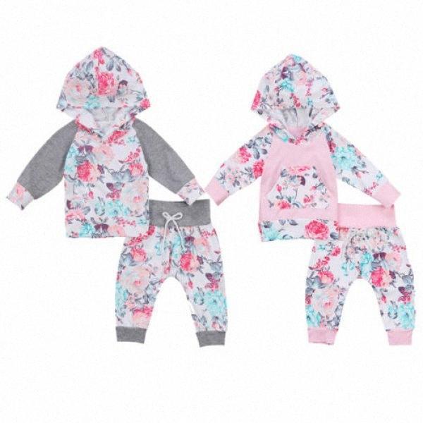 Automne Nouveau-né Kid bébé fille Vêtements Set à manches longues à capuche Fleur Hauts Pantalons Filles Vêtements Floral mignon coton Tenues 2pcs pU8b #