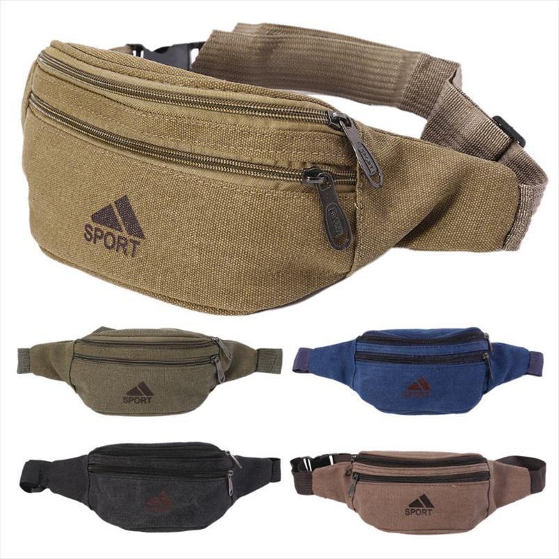 Pockets Men Casual duráveis Bloco de Fanny cintura sacos Hip Bag Belt Canvas Bum Militar Bag Pouch Três zipper