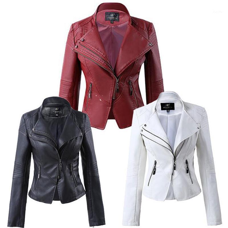 2019 Nueva Moda Doble Collar Femenino Plus Tamaño Cuerpo Corto Chaqueta Mujer Blanco Negro Rojo 4xl1