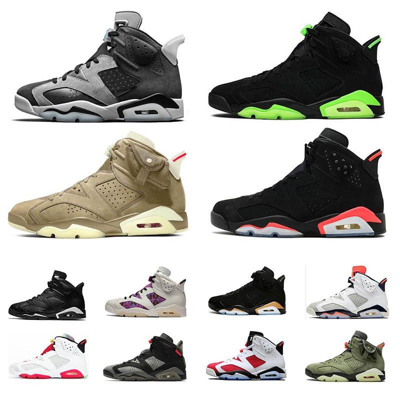 high quality 6 6s men women basketball shoes black Infrared Electric Green DMP Hare Smoke Grey Tech Chrome Carmine UNC sport sneakers