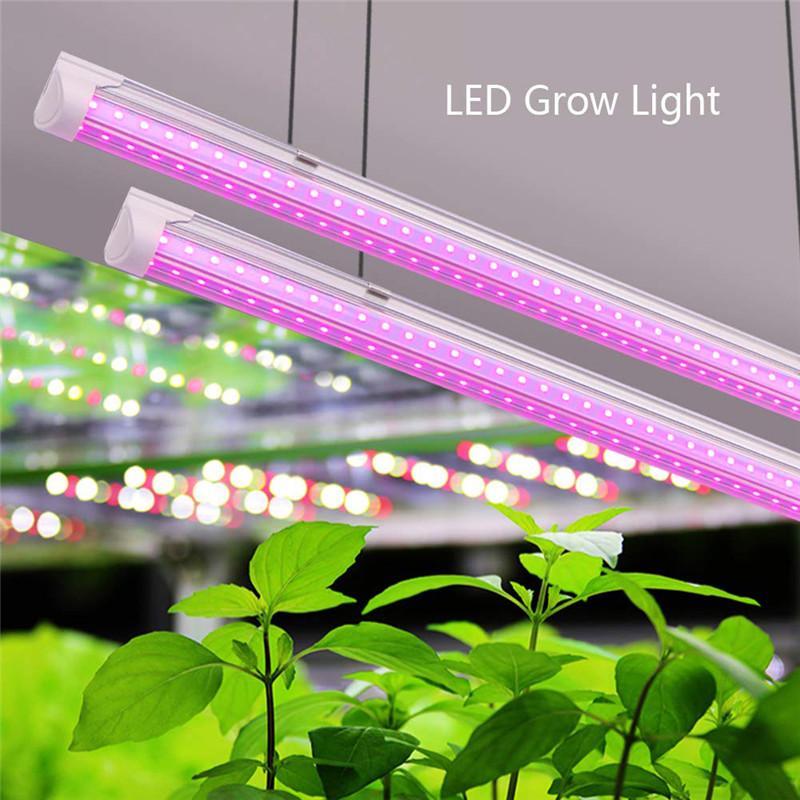 LED Grow Culture, spectre complet, sortie élevée, conception liée, ampoule intégrée T8 + luminaire, lumières végétales pour plantes intérieures, tube de forme V 1ft-4ft V