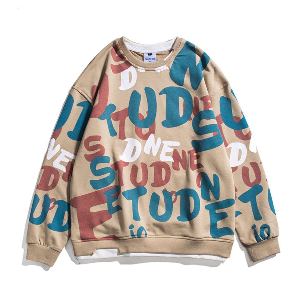 21 весенняя новая молодежная улица мода бренд хип-хоп полный печать поддельные два круглых воротника мужской свитер