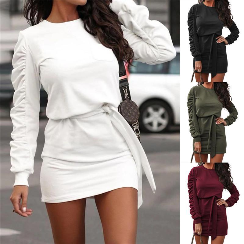 Des femmes de couleur unie à manches longues Robe Bandage Jupe Robe courte confortable Fashion Party Casual Suits Vêtements E117