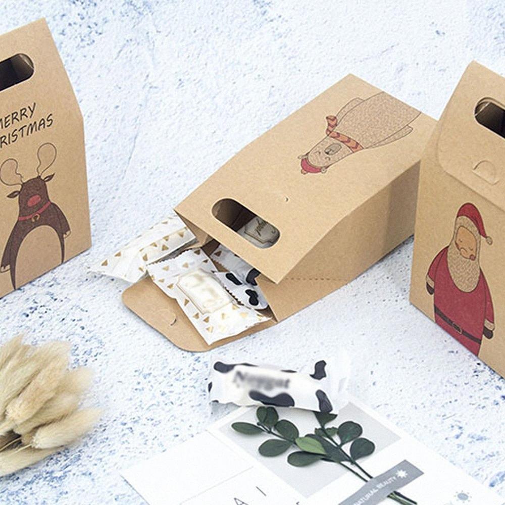 10PCS Papai Noel cervos Festival Favor Paper Candy Box DIY bolinho caixas de presente de Natal de Ano Novo Partido Box kzv7 #