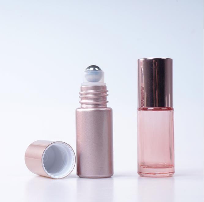 packing bottling 5ml 10ml rose gold Lids ROLL ON GLASS BOTTLE Fragrances ESSENTIAL OIL Perfume Bottle SS Roller Ball