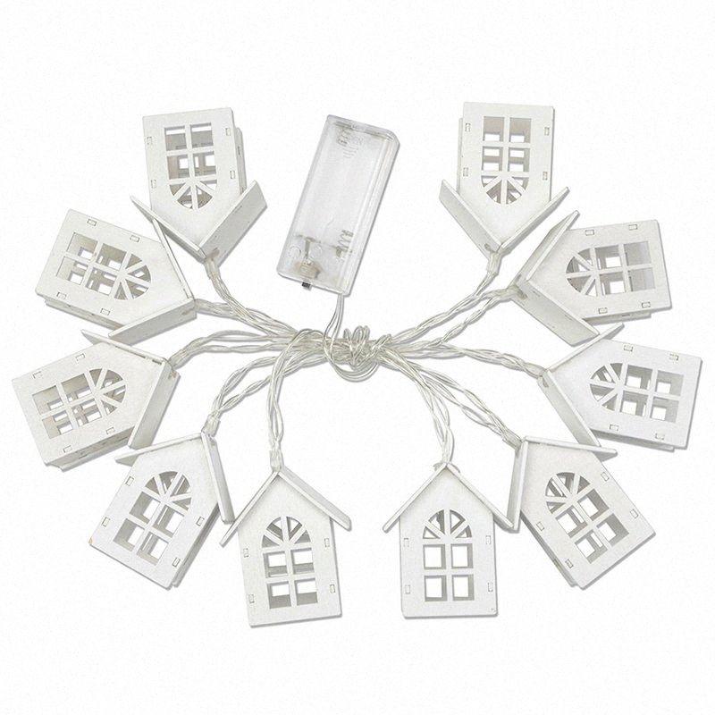 LED blanco casa de madera cadena luces de Navidad de habitaciones 1,5M decoración de la secuencia del partido boda de la guirnalda holiday lámpara luz de hadas # 7meg