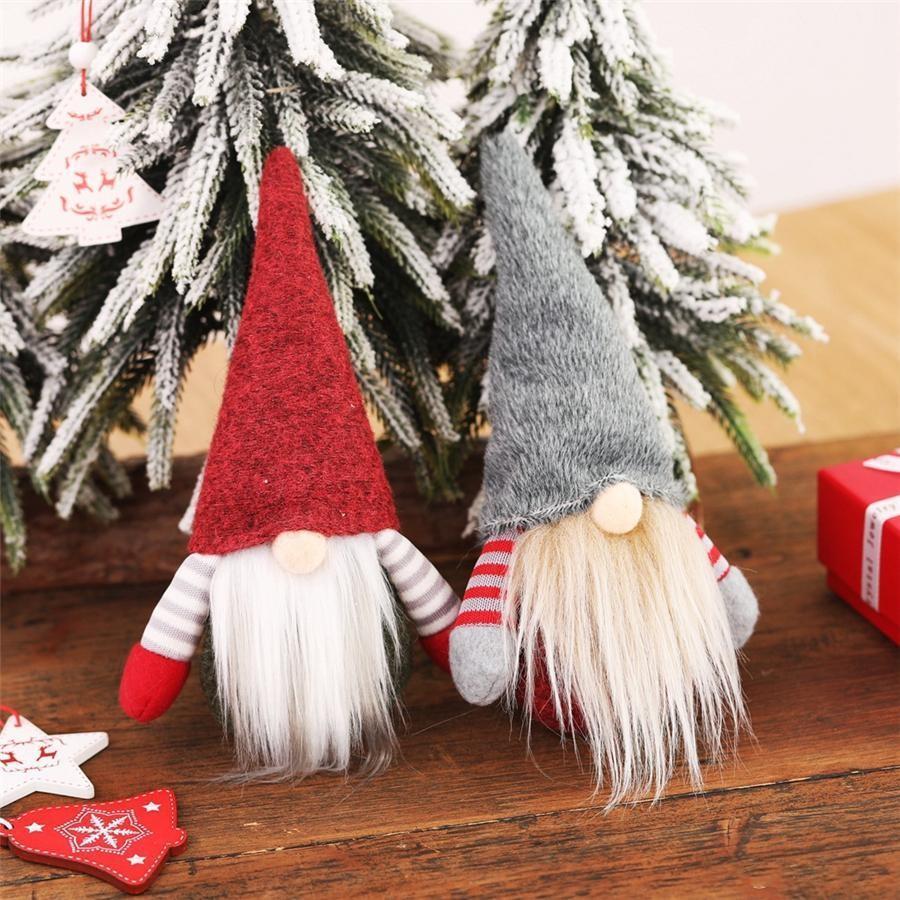 Noel El Yapımı İsveç Gnome İskandinav Tomte Santa Nisse Nordic Peluş Oyuncak Masa Süs Noel Ağacı Dekorasyon NWB2736